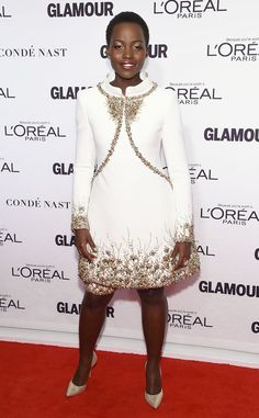Lupita Nyong'o's high-collared Chanel dress from the 2014 annual Glamour Women of the Year Awards.