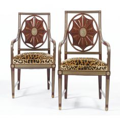 Pair of 19th Century Russian Neoclassical Style Brass-mounted Mahogany Armchairs.