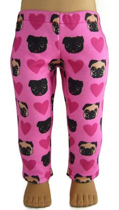 "Pug Dog Doggy & Heart Hot Pink Leggings for 18"" American Girl Doll Clothes #DollClothesSewBeautiful"