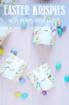 Easter Krispie Treats with Peeps and M & M's by Something Swanky