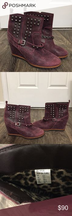 """Skechers Cheeky Ankle Boot in Burgundy *RARE* SKCH+3 brand """"Cheeky"""" studded ankle wedge boot in burgundy. This color is difficult to find! These have distressed leather with a 3 inch hidden wedge and metal stud details. There is an adjustable strap and back pull-on tab. Skechers Shoes Wedges"""