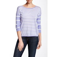 Autumn Cashmere Mixed Stripe Tee ($70) ❤ liked on Polyvore featuring tops, t-shirts, stripe long sleeve tee, crewneck t-shirt, long sleeve tops, striped long sleeve t shirt and stripe t shirt