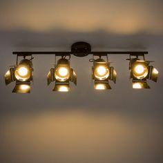 Lámpara de techo 4 focos orientables de metal negro An. 103 cm HOLLYWOOD