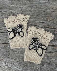 READY TO SHIP, Knitted Fingerless Gloves, Ivory, Roses, Gloves & Mittens, Gift Ideas, For Her Accessories, Winter Accessories,