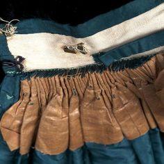 Cartridge pleats at waist, dress, c.1864. KSUM 1983.1.105