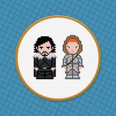 Game of Thrones - Jon Snow & Ygritte Cross Stitch...aka nerdiest wedding topper ever.