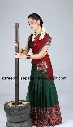 Tamanna in Red and Green Half Saree   Saree Blouse Patterns
