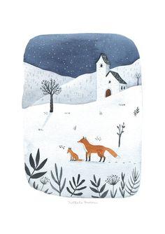 chambre de bébé d'hiver imprimé, art du paysage d'hiver imprimer, art de la chambre de bébé moderne, aquarelle de paysage d'hiver, illustration de paysage d'hiver