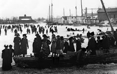 A wide creek divides the Dorchester County seat into East and West Cambridge. When a long freeze settled in on Cambridge Creek c. 1910, skaters came out in droves to enjoy the situation. Each evening the Rescue Fire Company hosed down the creek to make the surface smooth.