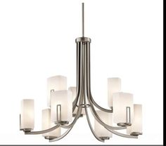 Kichler Leeds 42428 Chandelier - 36 In.  Price: $960.99 | Visit Store »  A simple, yet beautiful two-tier design makes the Kichler Leeds 42428 Chandelier - 36 in. an elegant addition to any contemporary room. Perfectly sized for medium or larger rooms, this chandelier features rectangular, satin-etched cased opal glass diffusers on a metal frame in your choice of finish. It uses nine 100-watt bulbs (not included).Kichler QualitySince 1938, Cleveland-bas...  Chandeliers | Contemporary