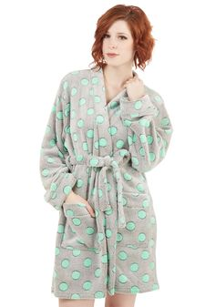 Relaxed to the Max Robe. Lounge about in the coziest of fashions while wrapped in this polka-dotted robe! #grey #modcloth