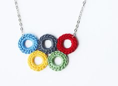 Bubble jewelry Olympic rings necklace