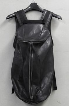 Slouchy black leather backpack