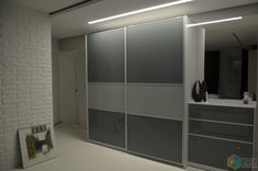 Прихожая в стиле минимализм, шкаф-купе со стеклянными фасадами