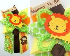 Safari Baby Shower Corsage - Jungle Animals - Ready To Ship Baby Showers, Distintivos Baby Shower, Baby Shower Giraffe, Baby Shower Themes, Baby Shower Decorations, Baby Shower Gifts, Baby Gifts, Shower Ideas, Safari Party