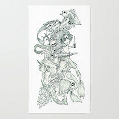 Mermaid Kingdom (Wonderful Mess Series) Area & Throw Rug by Dan Paul Roberts - $28.00