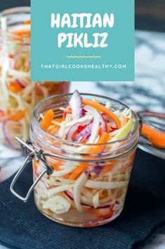Haitian pikliz recipe – a delicious tangy Caribbean spicy slaw made from cabbage, carrots, shallots, scotch bonnet, lime and pickled in vinegar. Slaw Recipes, Carrot Recipes, Yummy Recipes, Free Recipes, Spicy Carrots, Caribbean Recipes, Caribbean Food, Carrot Slaw, Meals