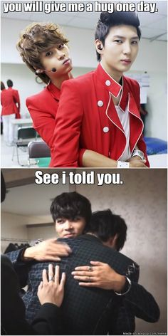 N and Leo - VIXX  ~(extra sweet because in the bottom picture Leo is crying into N's shoulder after they won for the first time for their song VOODOO.)