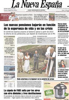 Los Titulares y Portadas de Noticias Destacadas Españolas del 8 de Junio de 2013 del Diario La Nueva España ¿Que le parecio esta Portada de este Diario Español?