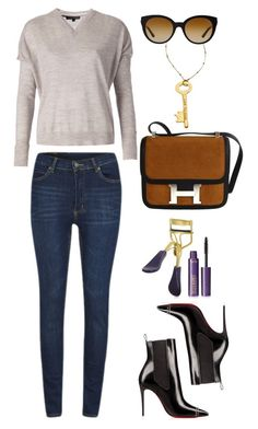 """""""Tommy Hilfiger v-neck sweater"""" by thestyleartisan ❤ liked on Polyvore featuring Tommy Hilfiger, Hermès, Cheap Monday, tarte, Blu Bijoux and Versace"""