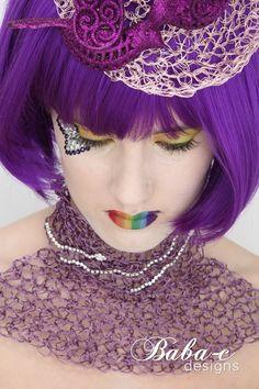 Purple collar and hat.