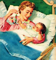 Mother and Baby - art by Nell Wilson - detail from 1957 Laconia Blanket ad. Vintage Abbildungen, Images Vintage, Photo Vintage, Vintage Pictures, Vintage Cards, Vintage Prints, Retro Baby, Mode Poster, Vintage Housewife