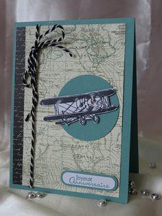 Carte double, Joyeux Anniversaire, motif placé en 3D un Avion, coloris bleu…