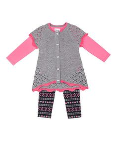 Loving this Heather Gray Hi-Low Sweater Set - Infant & Toddler on #zulily! #zulilyfinds