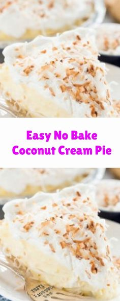 Easy No Bake Coconut Cream Pie Coconut Cream Dessert, Good Food, Yummy Food, Looks Yummy, Group Meals, Cream Pie, Dessert Recipes, Desserts, Cake Cookies