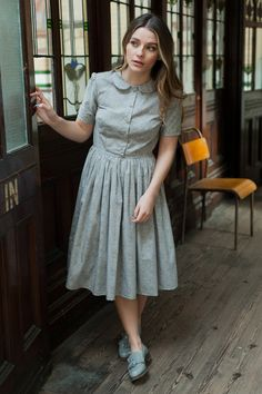 Liberty print dress with peter pan collar by Plum and Pigeon