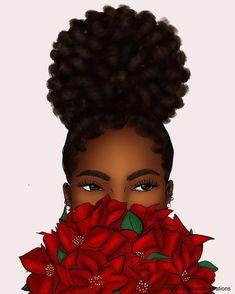Black Love Art, Black Girl Art, Black Girls Rock, Black Art Painting, Black Artwork, Natural Hair Art, Natural Hair Styles, Drawings Of Black Girls, Black Girl Cartoon