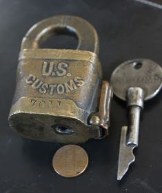 This ia a very cool auction, mostly because the customs padlock comes with an original key. This is the first time I remember seeing one. Under Lock And Key, Key Lock, Antique Keys, Vintage Keys, Knobs And Handles, Door Handles, Safe Door, Antique Shelves, Cool Lock