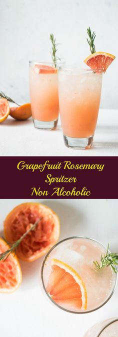 This non alcoholic grapefruit rosemary spritzer is a refreshing drink to serve on warmer days or even for brunch. The savory hint of rosemary makes this a perfect grownup, elegant drink. | thelastcookie.ca