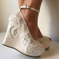 Comfortable Wedge Wedding Shoes Platform Lace Wedges Bride