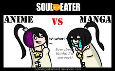 Soul Eater Anime vs. Manga : Tsubaki by nobodygoddammit.deviantart.com on @deviantART