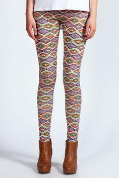 Kolorowe azteckie legginsy.