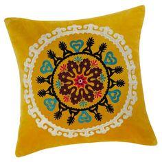 Gatala - Coussin en velours jaune 45 x 45 cm