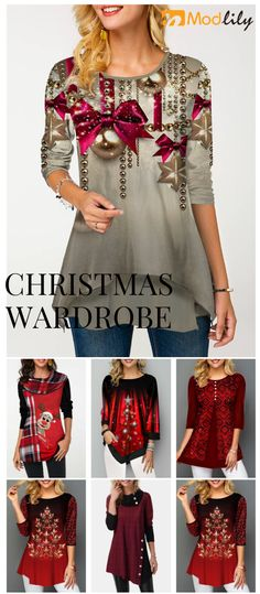 Special festivals require special clothes to celebrate. Christmas Tops, Christmas Fashion, Trendy Tops For Women, Holiday Outfits, Festivals, Cool Outfits, Fashion Dresses, Textiles, Dresser