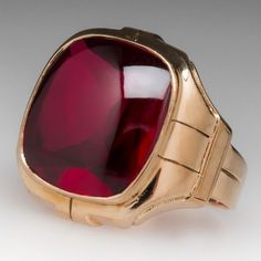 1950's Vintage Created Ruby Mens Ring 10K