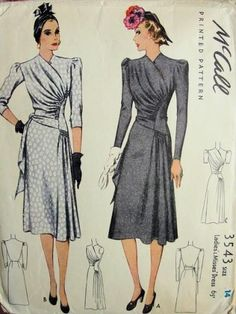 Lovely (flattering) ruching and draping on this pair of elegant, beautiful 1940s dresses. #vintage #sewing #pattern #1940s #dress