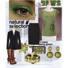 I like the green blouse. Pair it with an A-line skirt instead. Put black boots instead of brown ones.