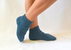 knitted socks  hand knitted teal blue socks boot socks by bstyle, $20.00