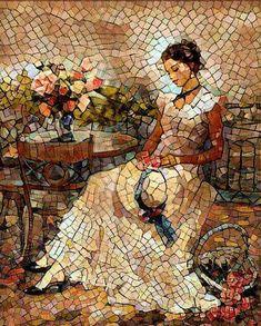 Who Needs A Paintbrush? Mosaic Diy, Mosaic Garden, Mosaic Crafts, Mosaic Projects, Mosaic Wall, Mosaic Glass, Glass Art, Art Pierre, Mosaic Portrait