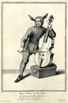 Full: Front A jester in the costume of an ass, playing a bass that rests on a trunk; from bound series of the Cries of London. 1688 Etching © The Trustees of the British Museum Classical Music Humor, Medieval Drawings, Court Jester, Punch And Judy, Music Pictures, Weird And Wonderful, Pencil Illustration, London City, The Life