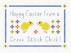 FREE Cross Stitch Pattern - 'Happy easter - Cross Stitch Chick'