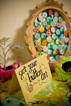 Band-style buttons for wedding favors = AWESOME IDEA.