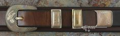 "Sterling Silver & Mokume-gane ""Fusion - Charleston"" 4-piece Belt Buckle Set w/Gold Quail"