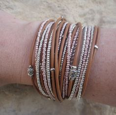 Boho Leather Wrap Bracelet Design Your OWN with by DesignsbyNoa, $62.00