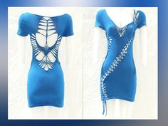 XLARGE Womens Juniors Sexy In Blue Shredded by LasciviousGrace