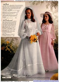 Vintage Wedding Photos, Vintage Bridal, Vintage Weddings, Full Gown, Bridal Gowns, Wedding Gowns, 1970s Wedding Dress, Montgomery Ward, Vintage Outfits